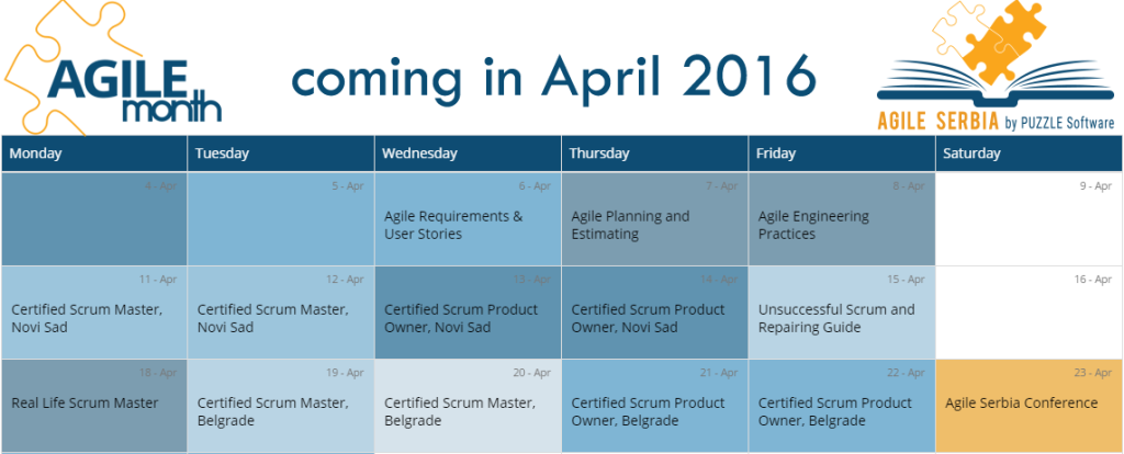 Agile Month Schedule for April 2016